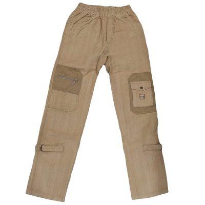 Παντελόνι μπεζ κοτλέ με τσέπες