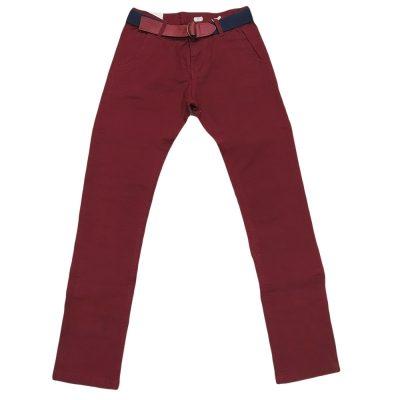 Παντελόνι μπορντό με ζώνη