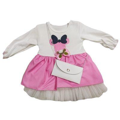 Φόρεμα μίνι ροζ πουά
