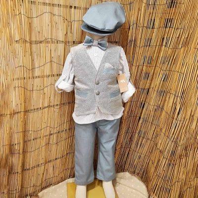 Βαπτιστικό κοστούμι Makis Tselios γκρι-γαλάζιο
