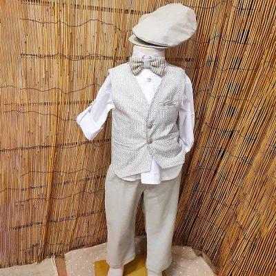 Βαπτιστικό κοστούμι Makis Tselios εκρού-απαλό φυστικί