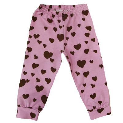 Παντελόνι φόρμας ροζ με καφέ καρδιές