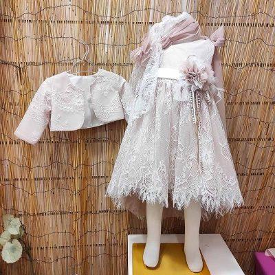 Βαπτιστικό φόρεμα Marilli's House μπεζ με ουρά
