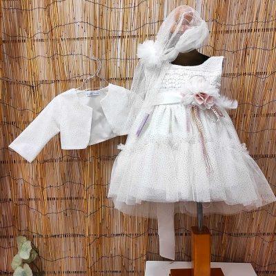 Βαπτιστικό φόρεμα Marilli's House Ιβουάρ χρυσό