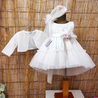 Βαπτιστικό φόρεμα Marilli's House Ιβουάρ ασημί