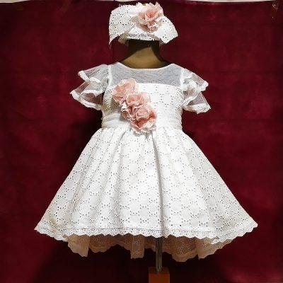 Βαπτιστικό φόρεμα Makis Tselios βαμβακερό λευκό κιπούρ