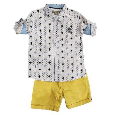 Σετ πουκάμισο λευκό με κίτρινη βερμούδα