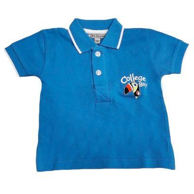 Μπλούζα γαλάζια με γιακά πικέ