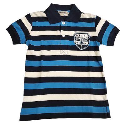 Μπλούζα με γιακά μπλε ριγέ