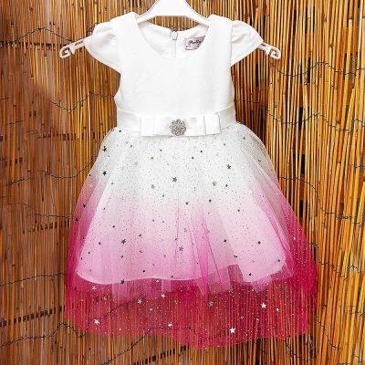 Φόρεμα λευκό-ροζ αστεράκια