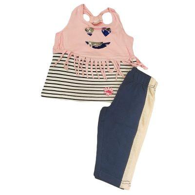 Μπλουζοφόρεμα ριγέ ροζ-μπλε