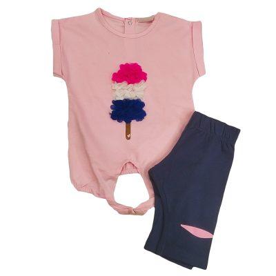 Μπλουζοφόρεμα παγωτό ροζ-μπλε