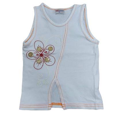 Μπλουζάκι λευκό με πορτοκαλί ραφές