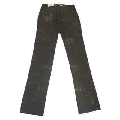 Παντελόνι τζιν σκούρο με χρυσό