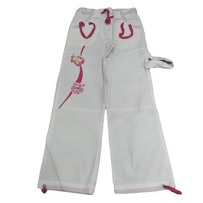 Παντελόνι λευκό με ροζ λουλούδια