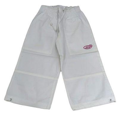 Παντελόνι κάπρι λευκό με ροζ σχεδιάκι