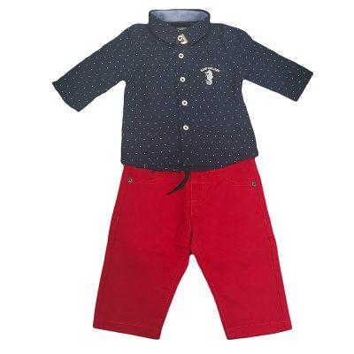 Σετ με πουκάμισο κόκκινο-μπλε