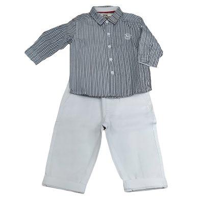 Σετ με πουκάμισο μπλε ριγέ με λευκό παντελόνι