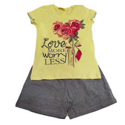 Πιτζαμάκι τριαντάφυλλα κίτρινο-γκρι