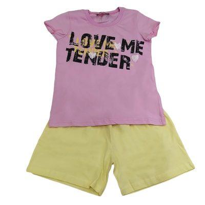 Πιτζαμάκι love me tender ροζ-κίτρινο