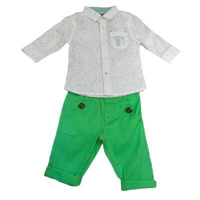 Σετ με πουκάμισο λευκό-πράσινο