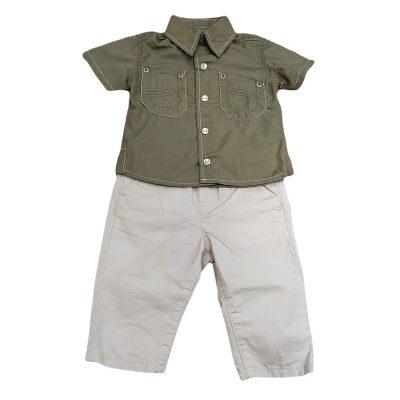 Σετ λαδί πουκάμισο με μπεζ παντελονάκι