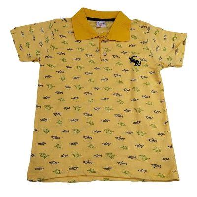 Μπλούζα καρχαριάκια με γιακά κίτρινη