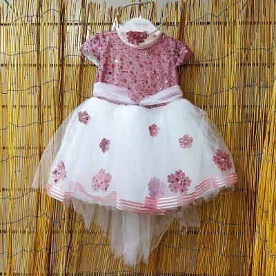 Φόρεμα τούλινο σάπιο μήλο-λευκό