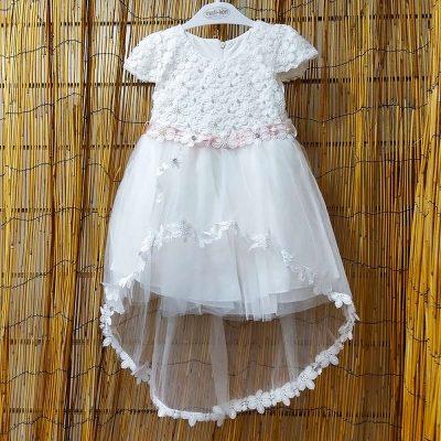 Φόρεμα τούλινο με ροζ απαλό ζωνάκι λευκό