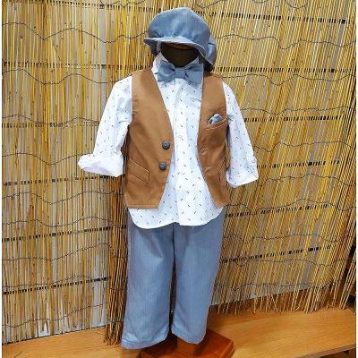 Βαπτιστικό κοστούμι Makis Tselios ταμπά-γκρι