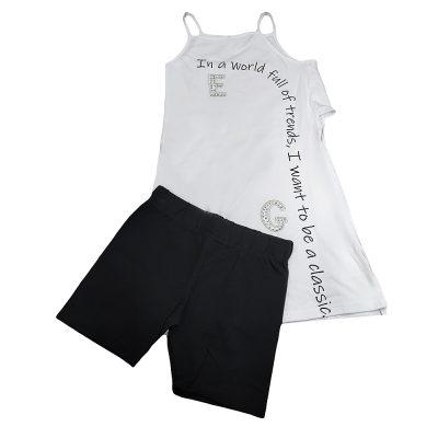 Μπλουζοφόρεμα με σορτσάκι λευκό μαύρο
