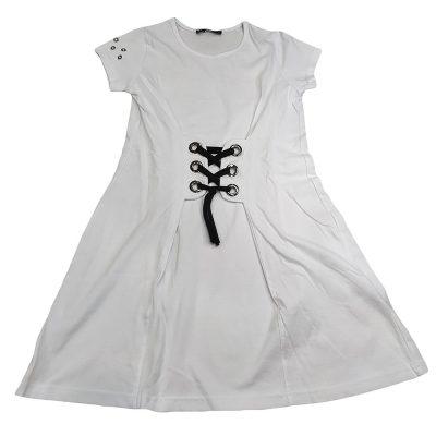 Φόρεμα μακό λευκό με δέσιμο