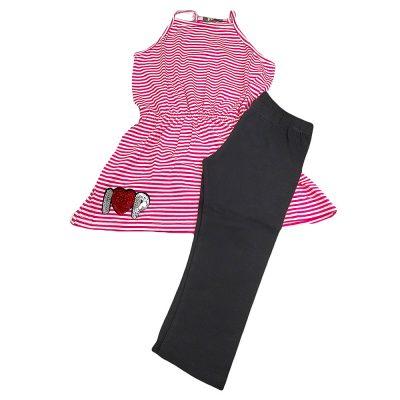 Μπλουζοφόρεμα με κολάν ριγέ ροζ