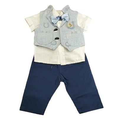 Σετ με υφασμάτινο παντελόνι και γιλέκο γαλάζιο