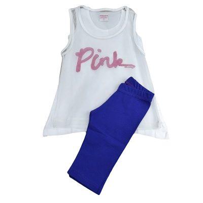 Μπλουζοφόρεμα pink λευκό-μωβ
