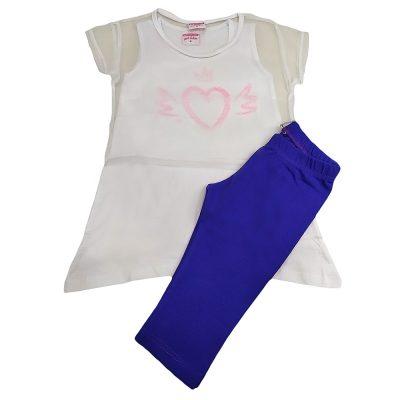 Μπλουζοφόρεμα καρδιά με διχτυωτό crop λευκό-μωβ