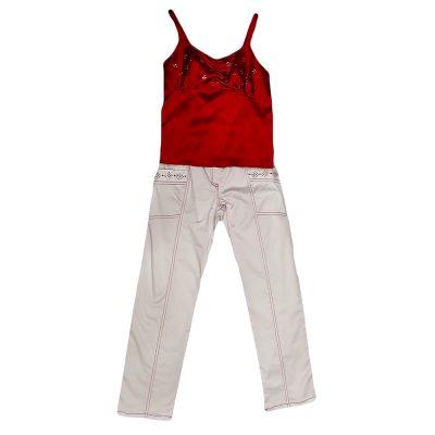Σετ υφασμάτινο παντελόνι με σατέν μπλουζάκι