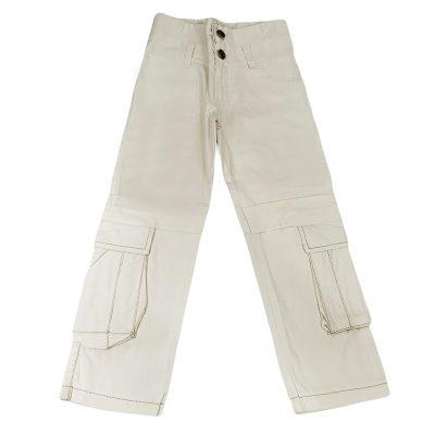 Παντελόνι υφασμάτινο εκρού με τσέπες