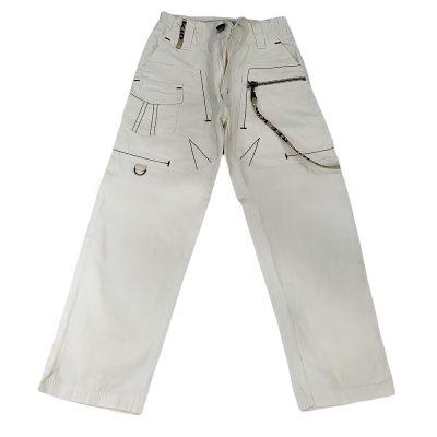 Παντελόνι υφασμάτινο εκρού με κορδόνισ την τσέπη