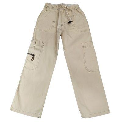 Παντελόνι υφασμάτινο μπεζ με τσέπη