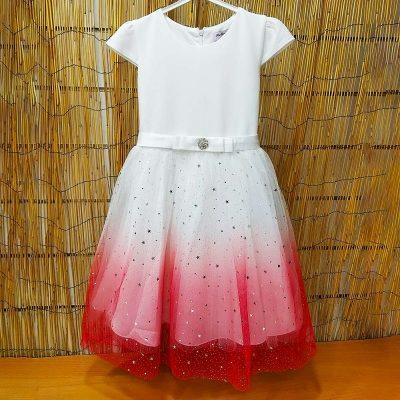 Φόρεμα αστεράκια λευκό-κοραλί