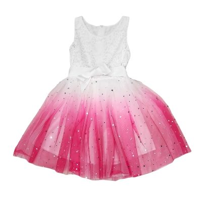 Φόρεμα αστεράκια λευκό-ροζ
