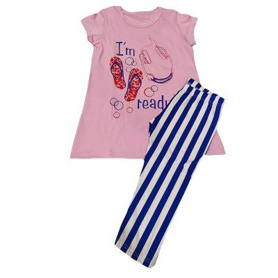 Μπλουζοφόρεμα με ριγέ κολάν ροζ