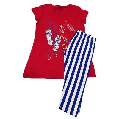 Μπλουζοφόρεμα με ριγέ κολάν κόκκινο