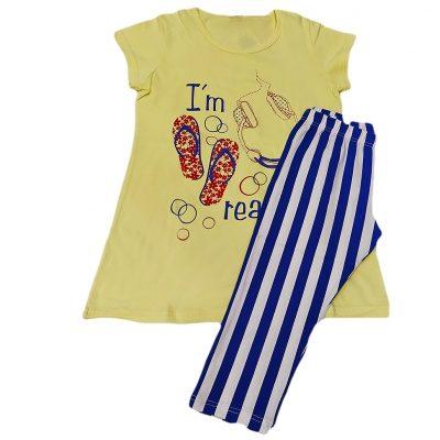 Μπλουζοφόρεμα με ριγέ κολάν κίτρινο