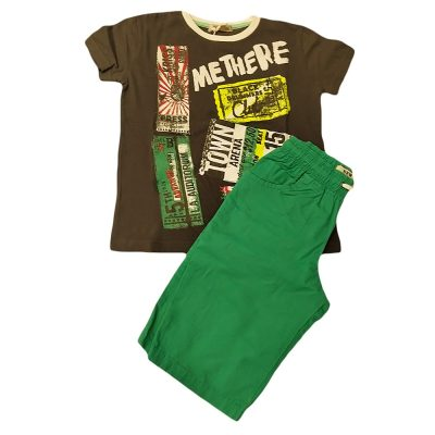 Σετ με υφασμάτινη βερμούδα γκρι-πράσινο