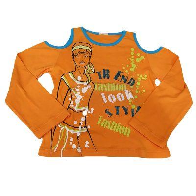 Μπλούζα πορτοκαλί με έξω τους ώμους