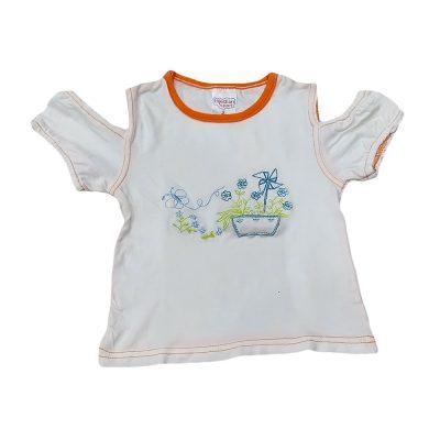 Μπλούζα εφαρμοστή λευκή-πορτοκαλί