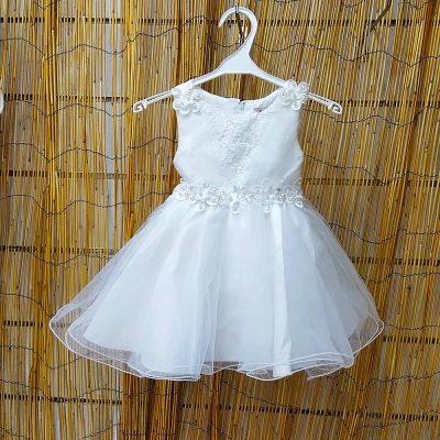 Φόρεμα λευκό με τούλι και δαντέλα