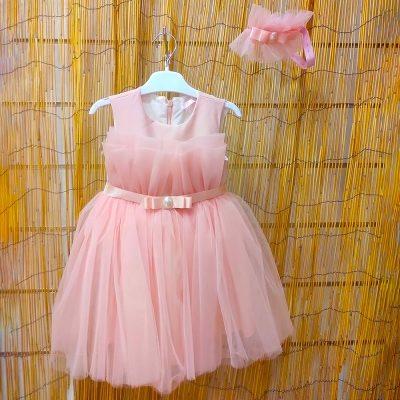 Βαπτιστικό φόρεμα σομόν-ροζ